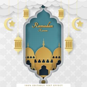 Ramadan kareem fond islamique avec style de papier blanc tosca or coupé