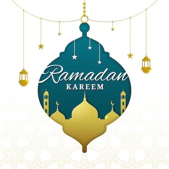 Ramadan kareem avec forme de mosquée et de lanterne en papier découpé