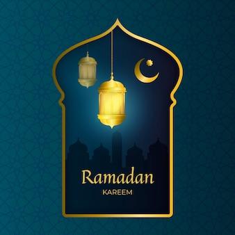 Ramadan kareem heureux réaliste avec cadre doré