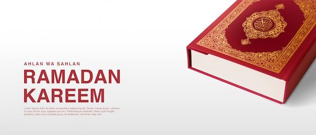Ramadan kareem illustration background template 3d realistict quran design.