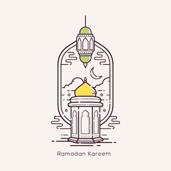 Ramadan kareem avec illustration de conception d'art en ligne