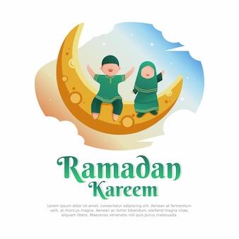 Ramadan kareem illustration dessin animé mignon enfants garçon et fille dans la lune