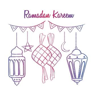 Ramadan kareem avec lanterne et ketupat en utilisant le style de griffonnage