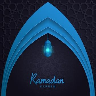 Ramadan kareem avec lanterne légère mosquée islamique