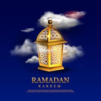 Ramadan kareem lettrage modèle de texte carte de voeux avec lampe rougeoyante.