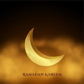 Ramadan kareem lune dorée avec fond de nuages