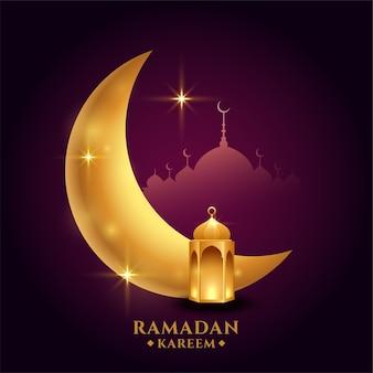 Ramadan kareem avec lune dorée et lanterne