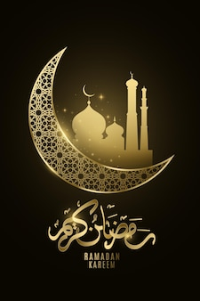 Ramadan kareem lune dorée avec mosquée lueur dans la nuit.