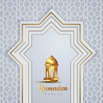 Ramadan kareem modèle de carte de voeux conception islamique avec motif islamique géomtérique et lanterne traditionnelle