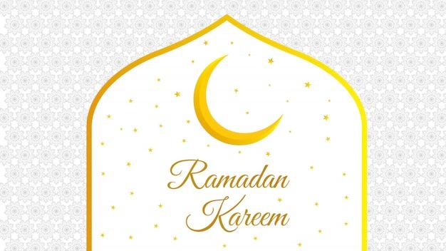 Ramadan kareem motif oriental mosquée lune étoiles blanc jaune illustration fond