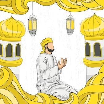 Ramadan kareem avec ornement illustration islamique dessiné à la main