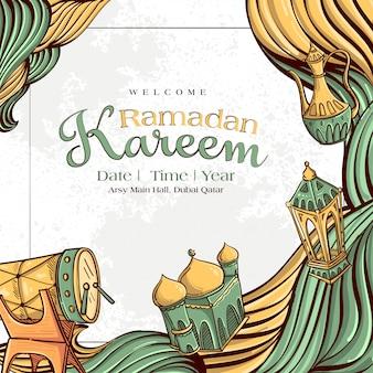 Ramadan kareem avec ornement illustration islamique dessinés à la main sur fond grunge blanc