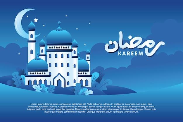 Ramadan kareem panorama du paysage de nuit