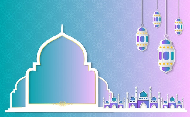 Ramadan kareem paper graphic
