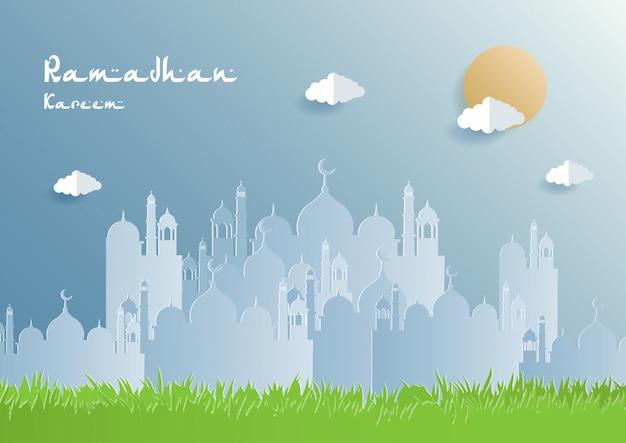 Ramadan kareem papier coupé illustration d'arrière-plan