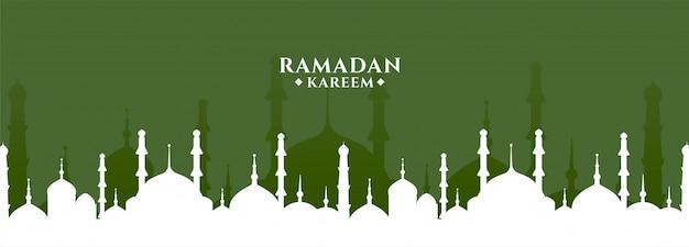Ramadan kareem salutation avec bannière de conception de mosquée