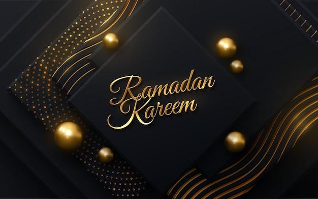 Ramadan kareem signe d'or sur fond de papier découpé noir avec des paillettes