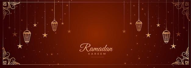 Ramadan kareem souhaite une bannière avec une décoration arabe