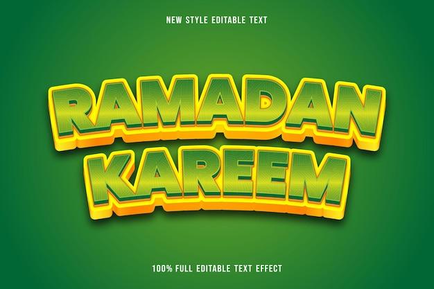 Ramadan kareem style d'effet de texte modifiable vert