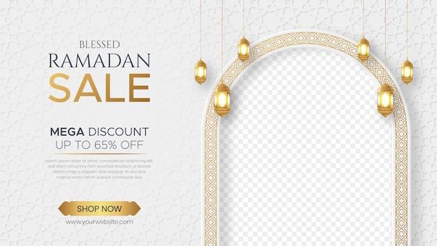 Ramadan kareem vente bannière ornement islamique lanterne vente bannière