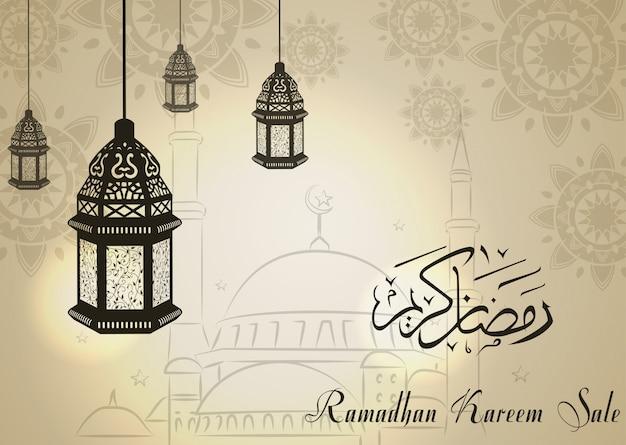 Ramadan kareem vente avec croissant de lune et lanterne