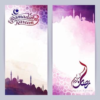 Ramadan kareem voeux bannière islamique conception de vecteur