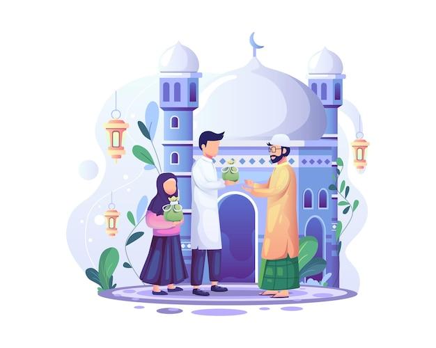 Ramadan kareem zakat donnant la charité, l'obligation islamique de don et l'illustration de la charité