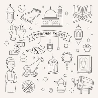 Ramadan karim carte de voeux vecteur dessiné à la main