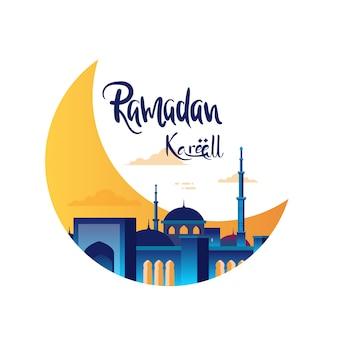 Ramadan karim concept avec mosquée