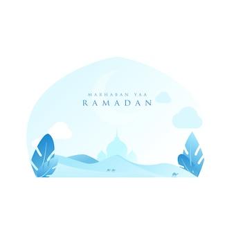 Ramadan karim avec le désert de couleur bleu clair