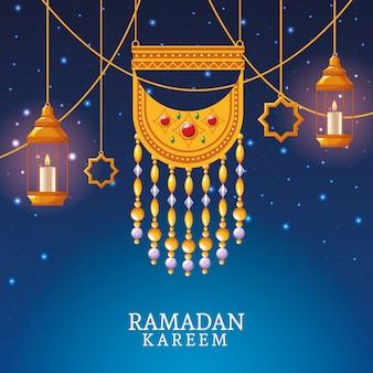Ramadan karim avec pendentif et art islamique