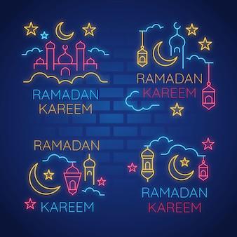 Ramadan lettrage concept enseigne au néon