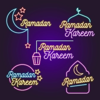 Ramadan lettrage thème enseigne au néon