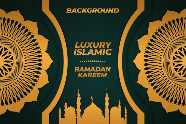 Ramadan mosquée islamique ramadan kareem fond luxe or ornement vert
