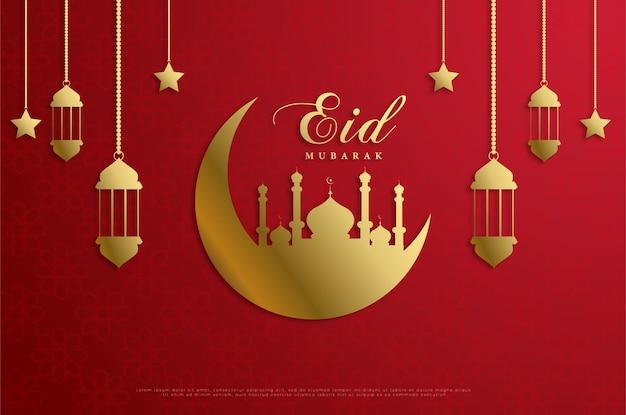 Ramadan avec une mosquée sur une lune dorée.