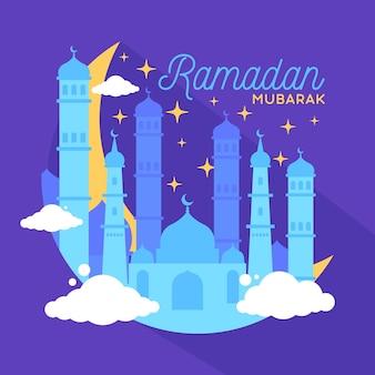 Ramadan mubarak belle carte de voeux avec illustration de la mosquée