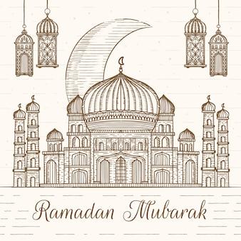 Ramadan mubarak dessiné à la main
