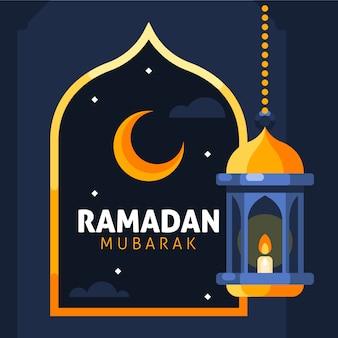 Ramadan mubarak fond avec croissant jaune et ornements de lanterne suspendue