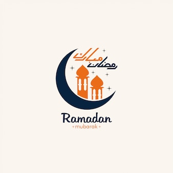 Ramadan mubarak avec lune et mosquée