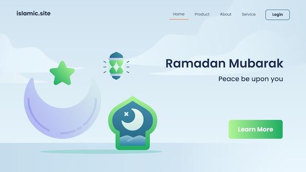 Ramadan mubarak pour l'atterrissage de modèle de site web ou la conception de la page d'accueil
