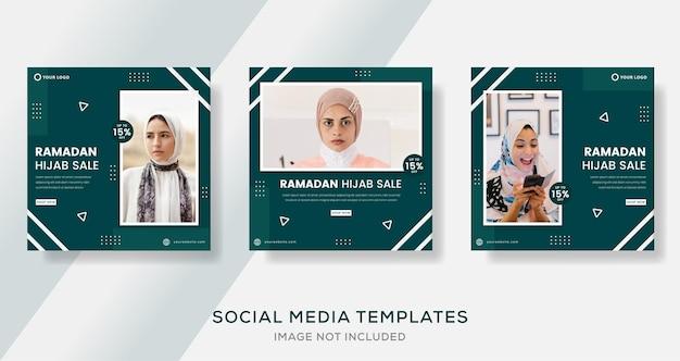 Ramadan mubarak pour fille mode hijab modèle de bannière post