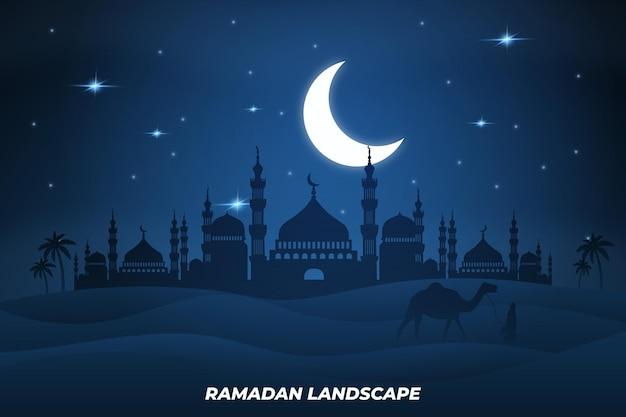 Ramadan paysage plat mosquée chameau dessert lune nuit