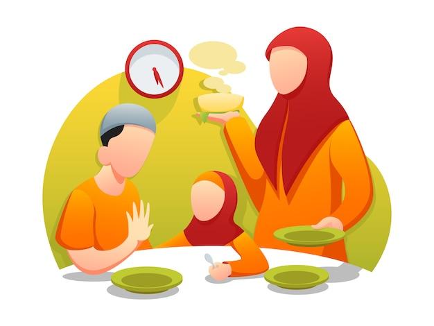 Ramadan sahur iftar web illustration à plat