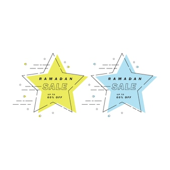 Ramadan sale banner star line art