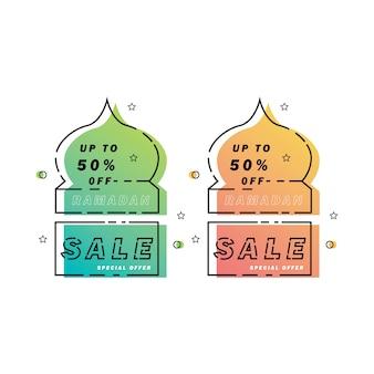 Ramadan vente bannière mosquée art au trait, remise et meilleure offre tag