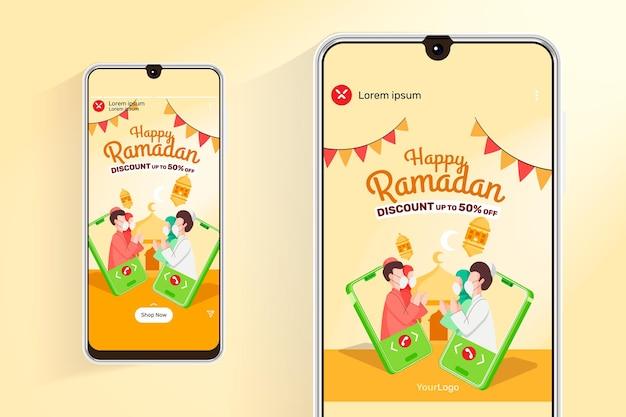 Ramadan vente flux et histoires avec illustration de personnes musulmanes de communication mobile