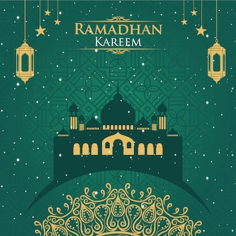 Ramadhan kareem du fond vert