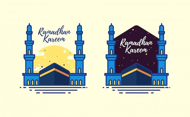 Ramadhan karim avec la mosquée al haram