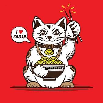 Ramen d'amour de chat chanceux