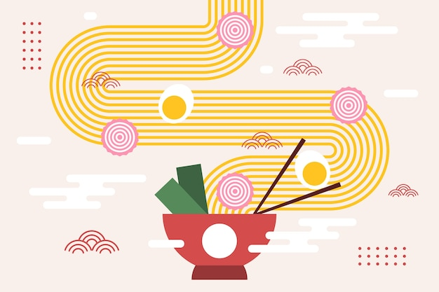 Ramen aux nouilles et oeuf dans un bol fond japonais